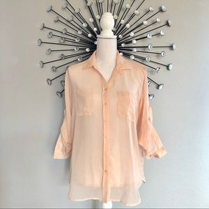 Victoria's Secret sheer button down long sleeve